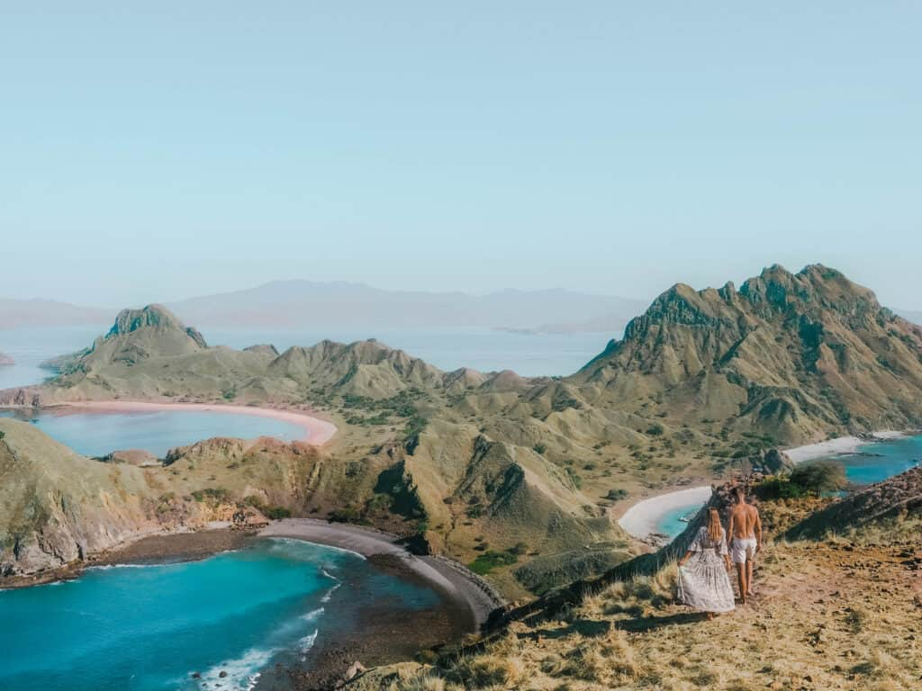 Komodo Padar Island Panorama View Couple