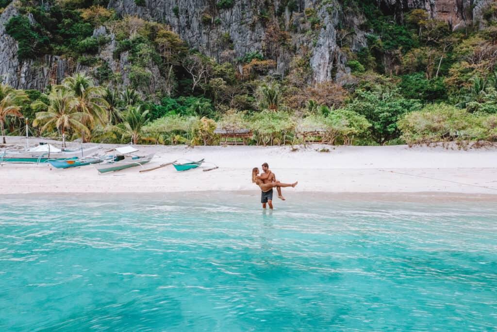 Coron Black Island Beach Couple