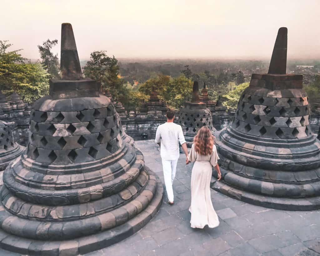 Couple at Borobudur Temple Yogyakarta
