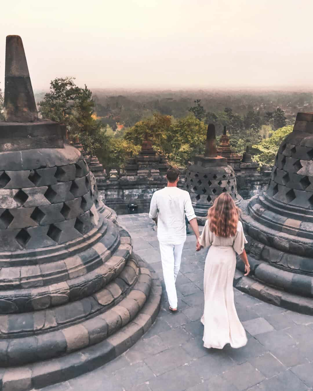 Couple at Borobudur Temple Yogyakarta