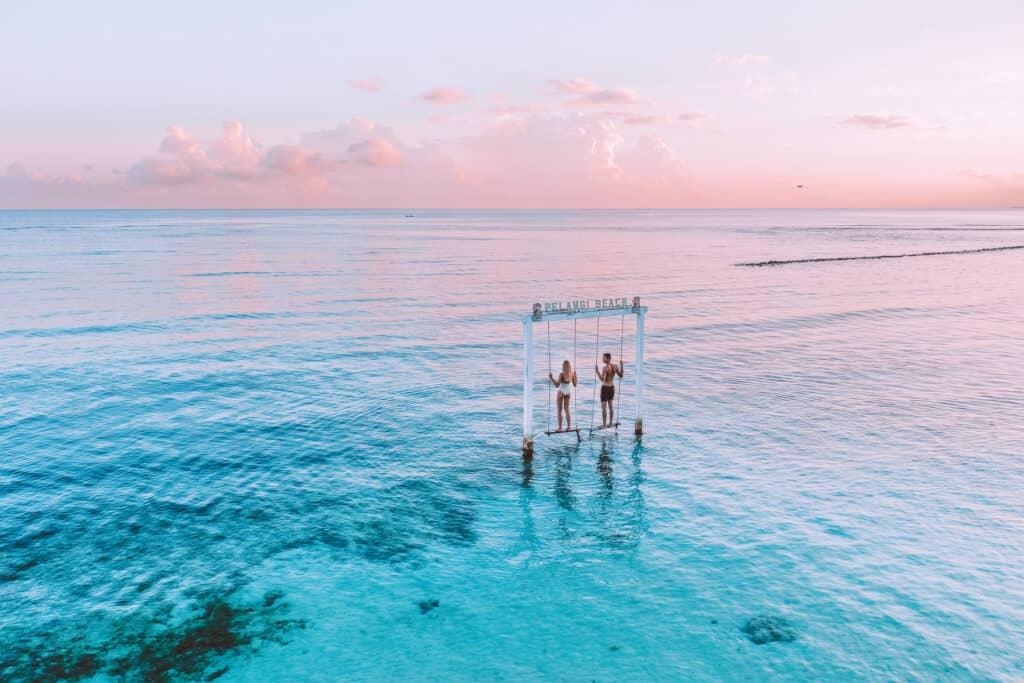 Pelangi Beach Swing at Sunrise on Gili Air