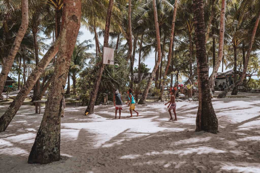 People playing Basketball on Guyam Island Siargao