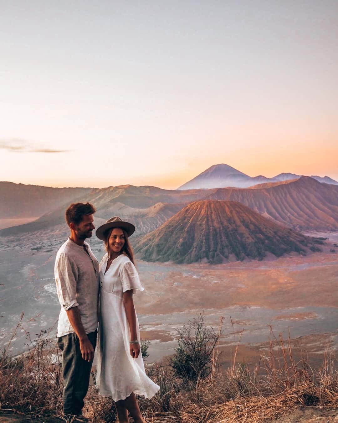 Couple Sunrise Mount Bromo Java