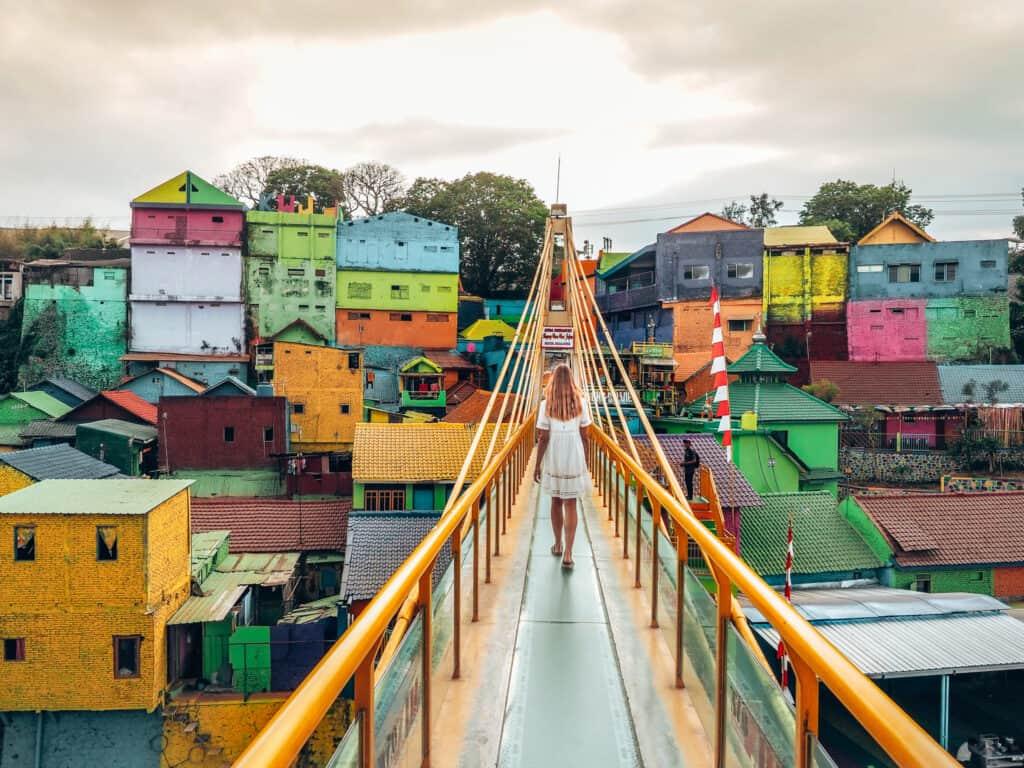 Yellow Bridge at Rainbow Village Malang