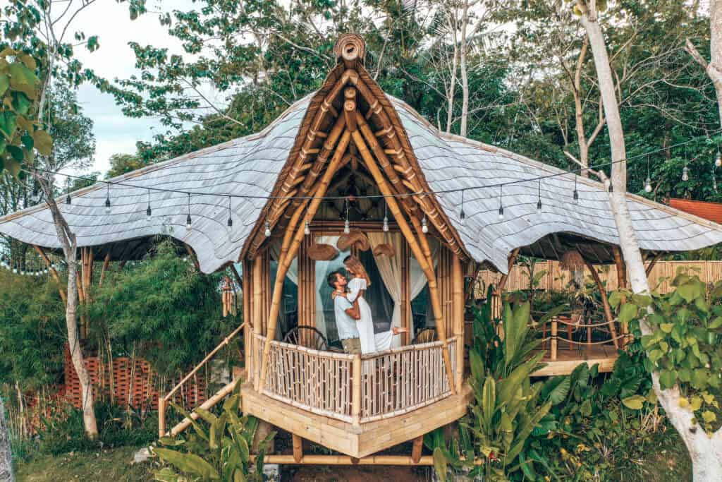 Bali Bird Hills Bamboo House Couple Balcony
