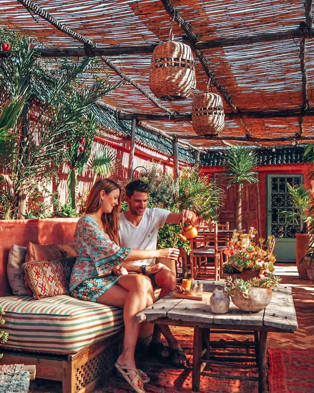 Marrakesh Riad Jardin Secret Rooftop Tea Couple