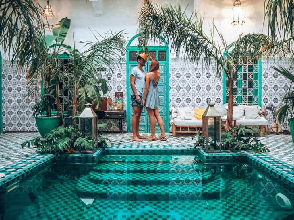 Marrakesh Riad BE Entrance Hall Pool Couple