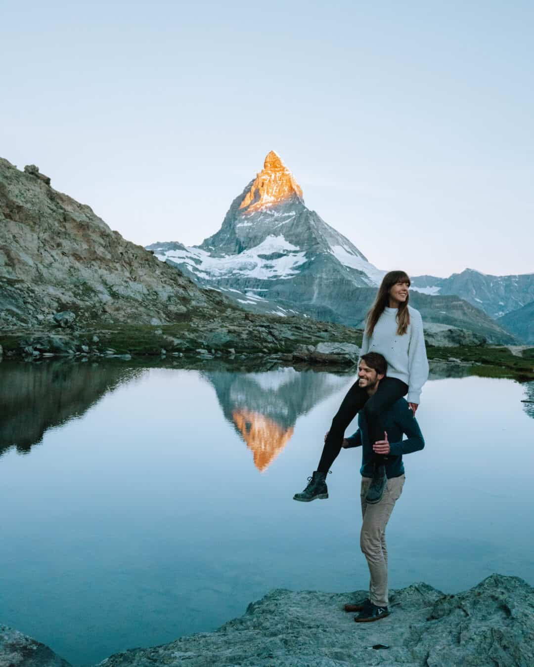 Switzerland Zermatt Matterhorn Sunrise Couple