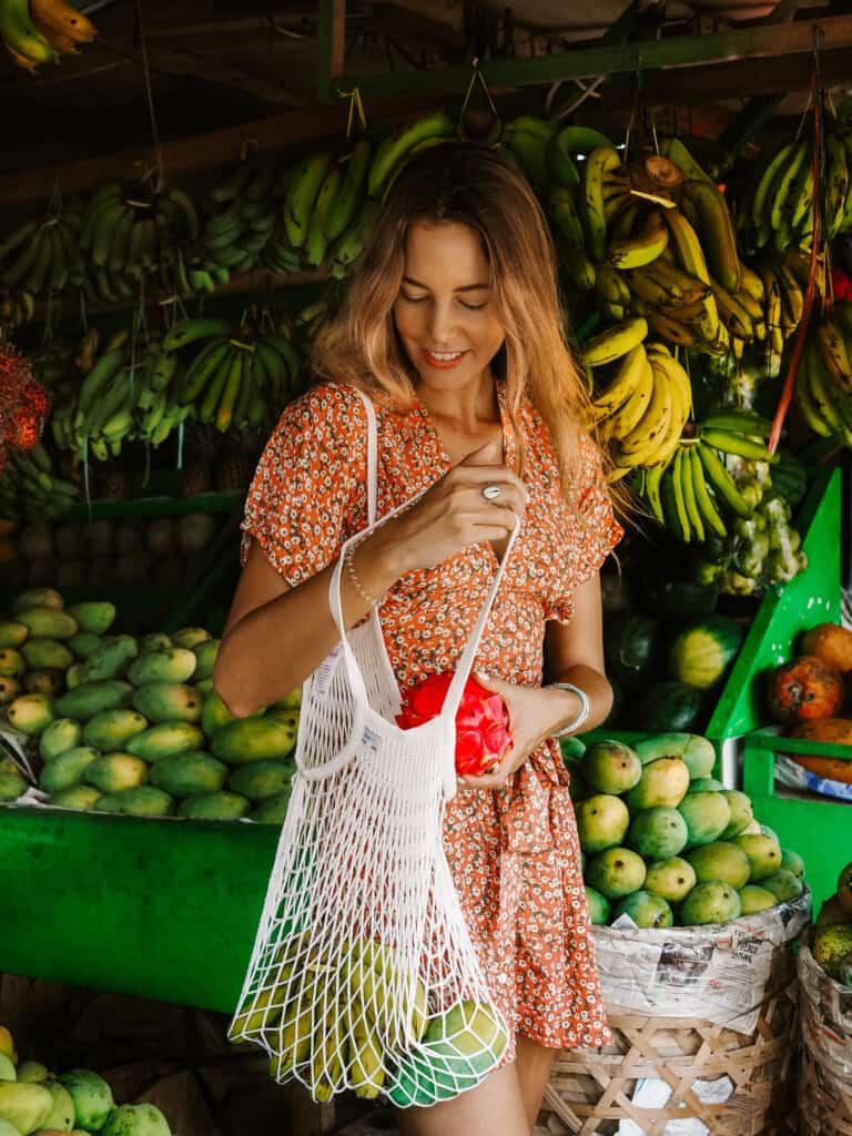 Bali Fruit Stall Woman Shopping