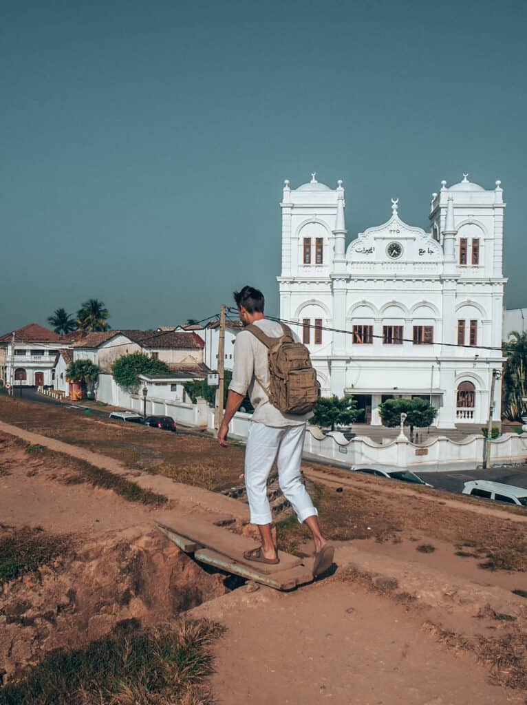 Galle Fort Man walking on wall