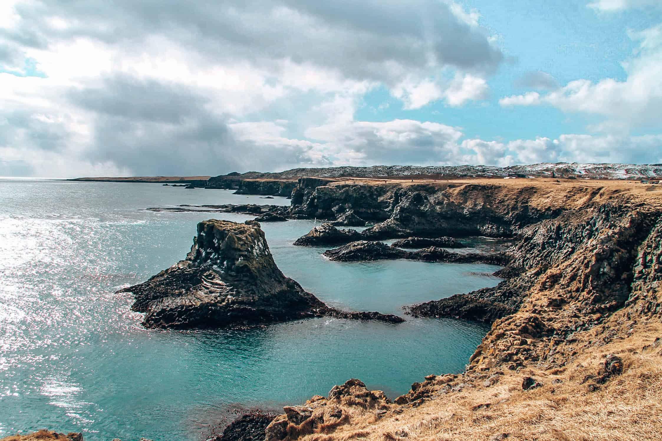 cliffs arnarstapi sea view iceland