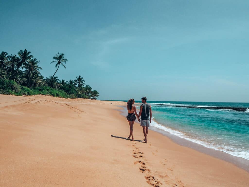 Tangalle Beach Couple walking