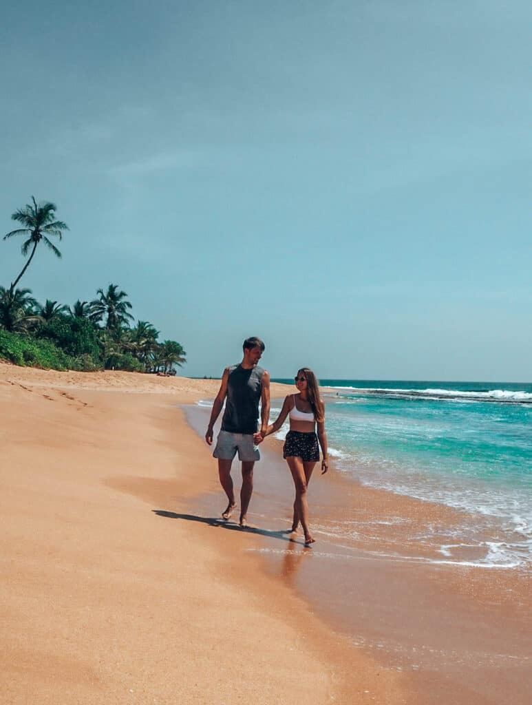 Tangalle Beach Couple Walking