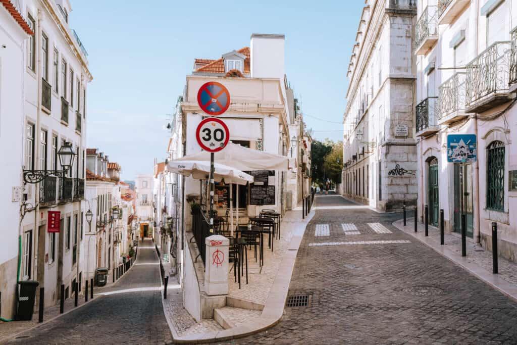 Lisbon Streets Houses Cafe Corner