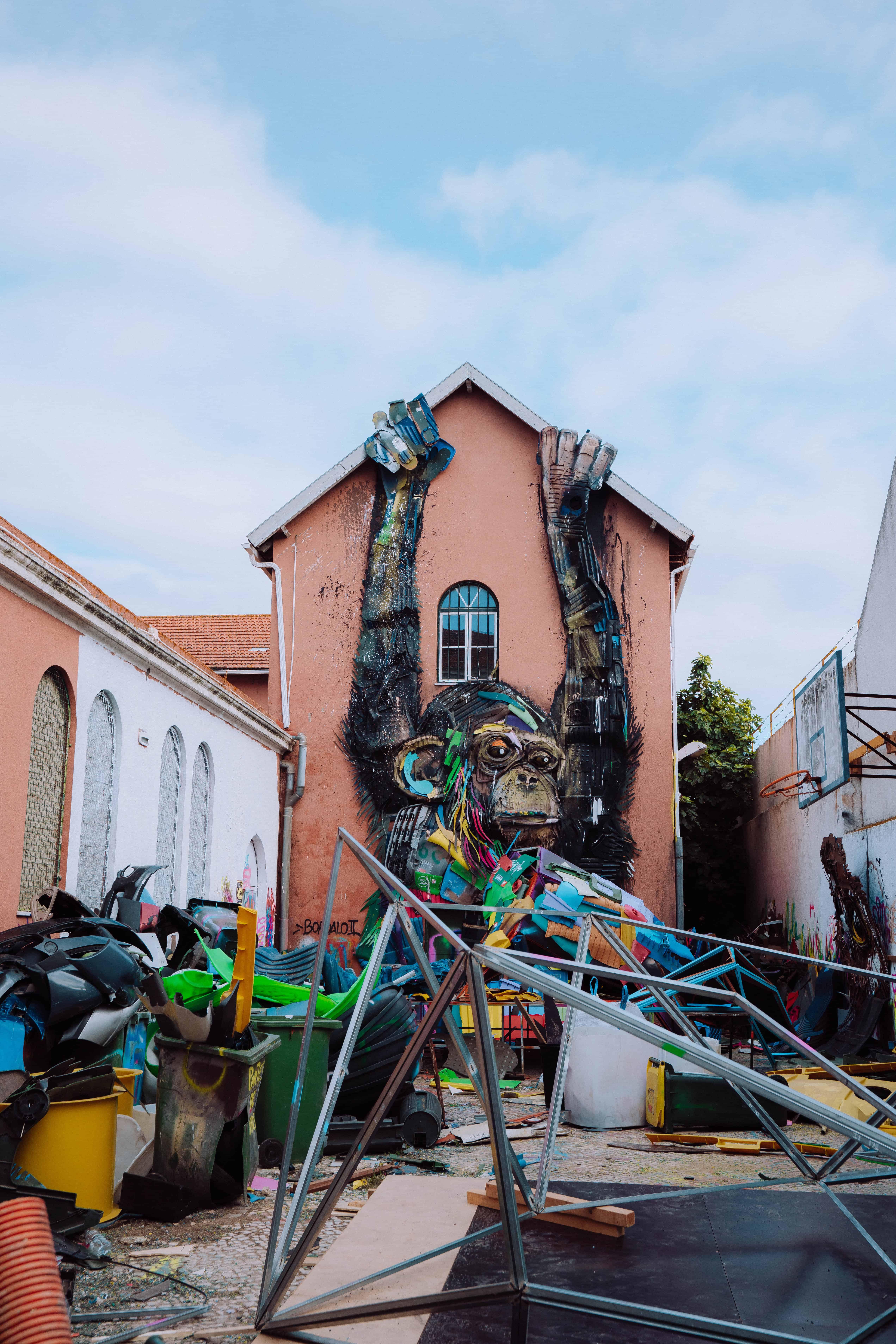 Lisbon Street Art Ape made of Trash