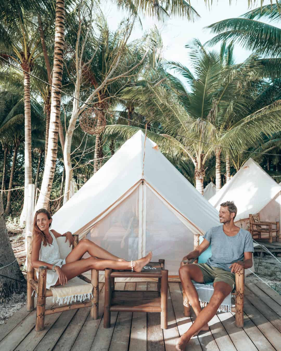 Siquijor Glamping Tent Couple Sitting