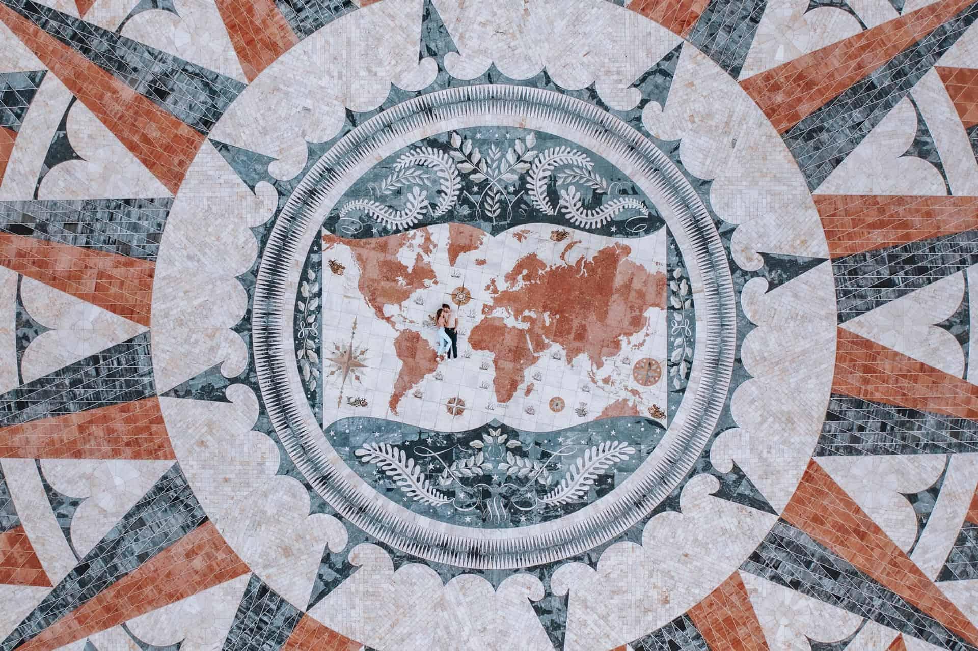 Lisbon Belem Rose Compass Couple