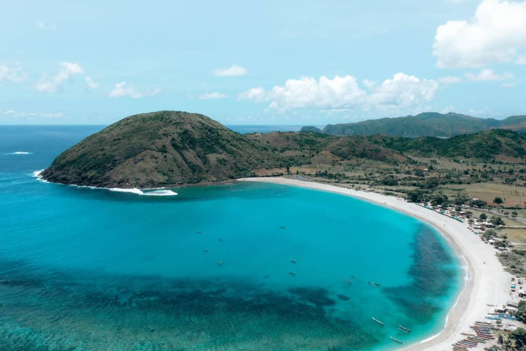 Lombok Mawun Beach Drone View