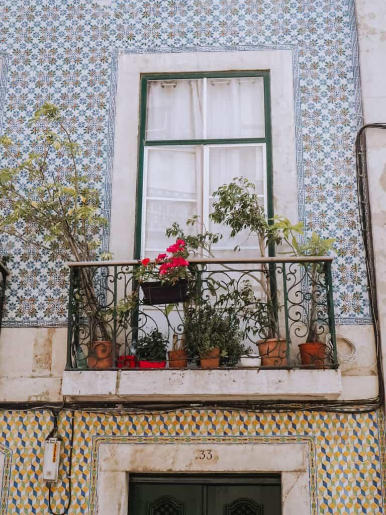 Lisbon House Balcony Flowers Tiles