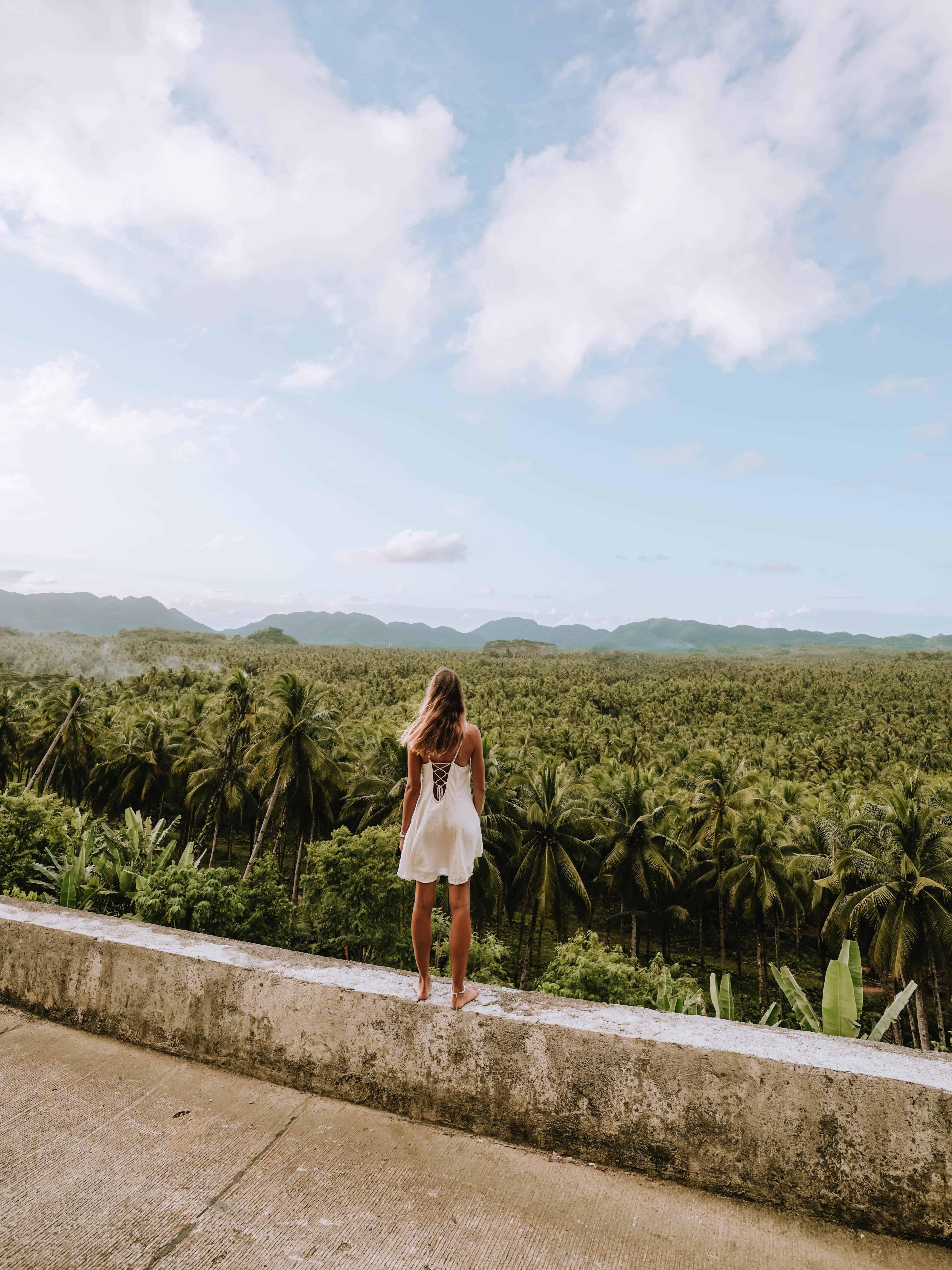 Siargao Palm Tree Viewpoint Woman