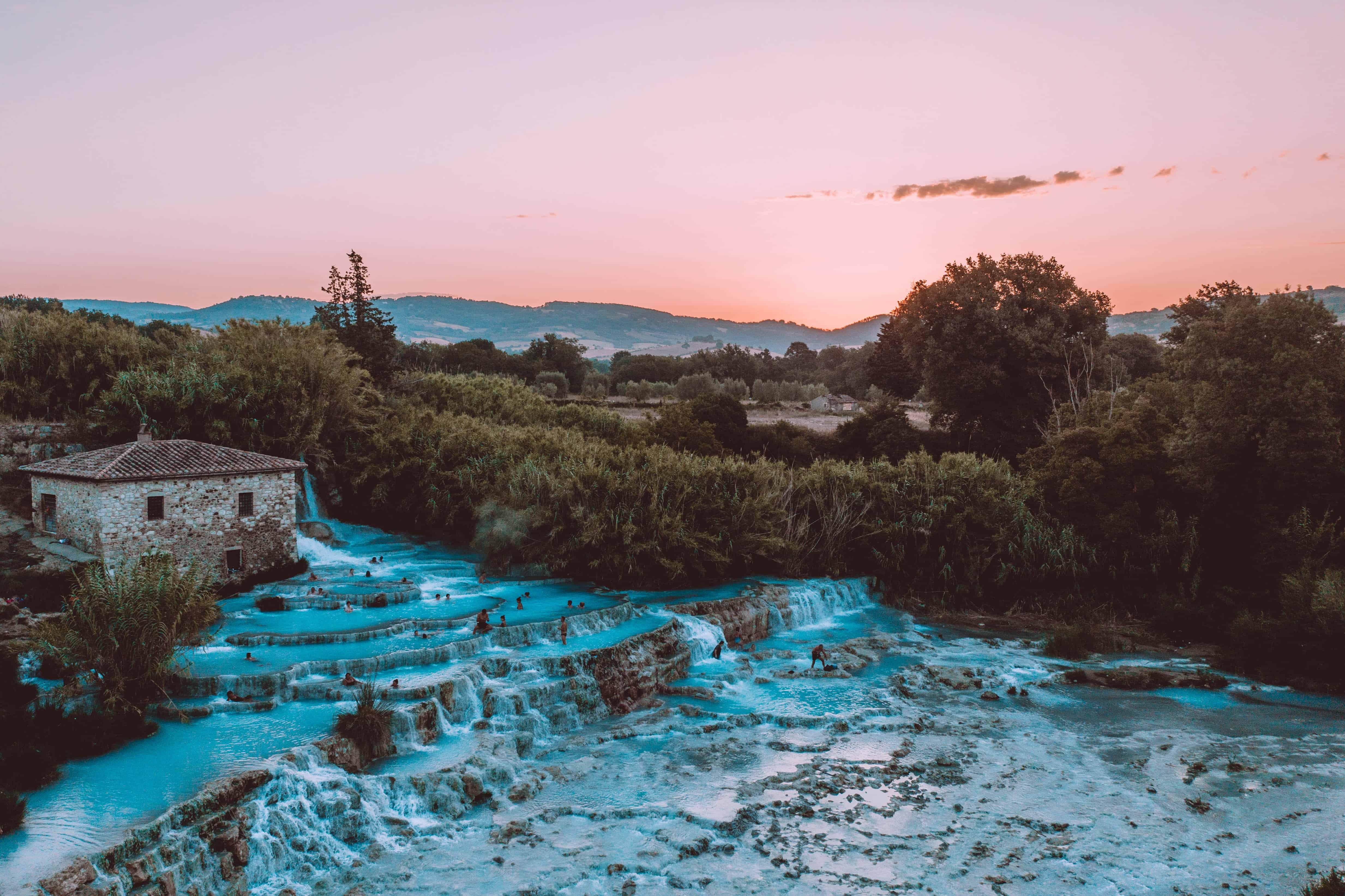 Italy Tuscany Cascate del Mulino Sunrise