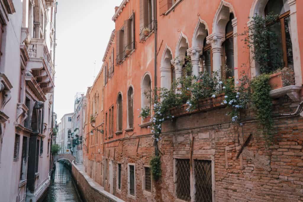 Italy Venice Canal Balcony Flowers