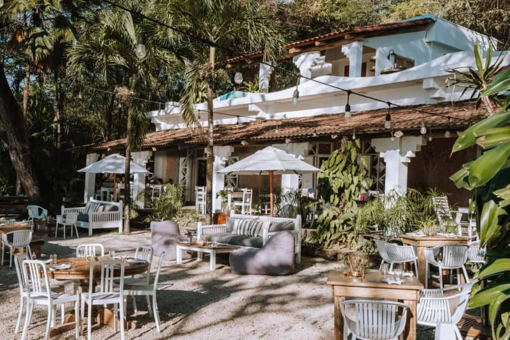 Garden seating area La Luna restaurant Nosara